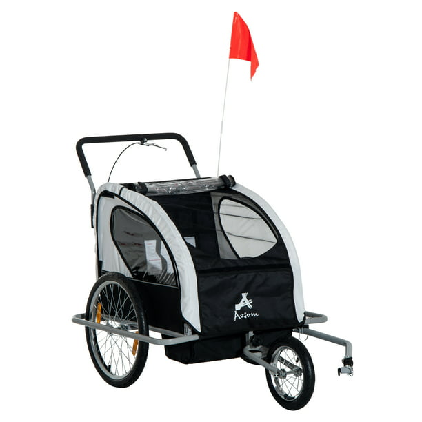 Aosom Elite 2-In-1 Three-Wheel Bicycle Cargo Trailer & Jogger for Two Children with 2 Safety Harnesses & Storage, White