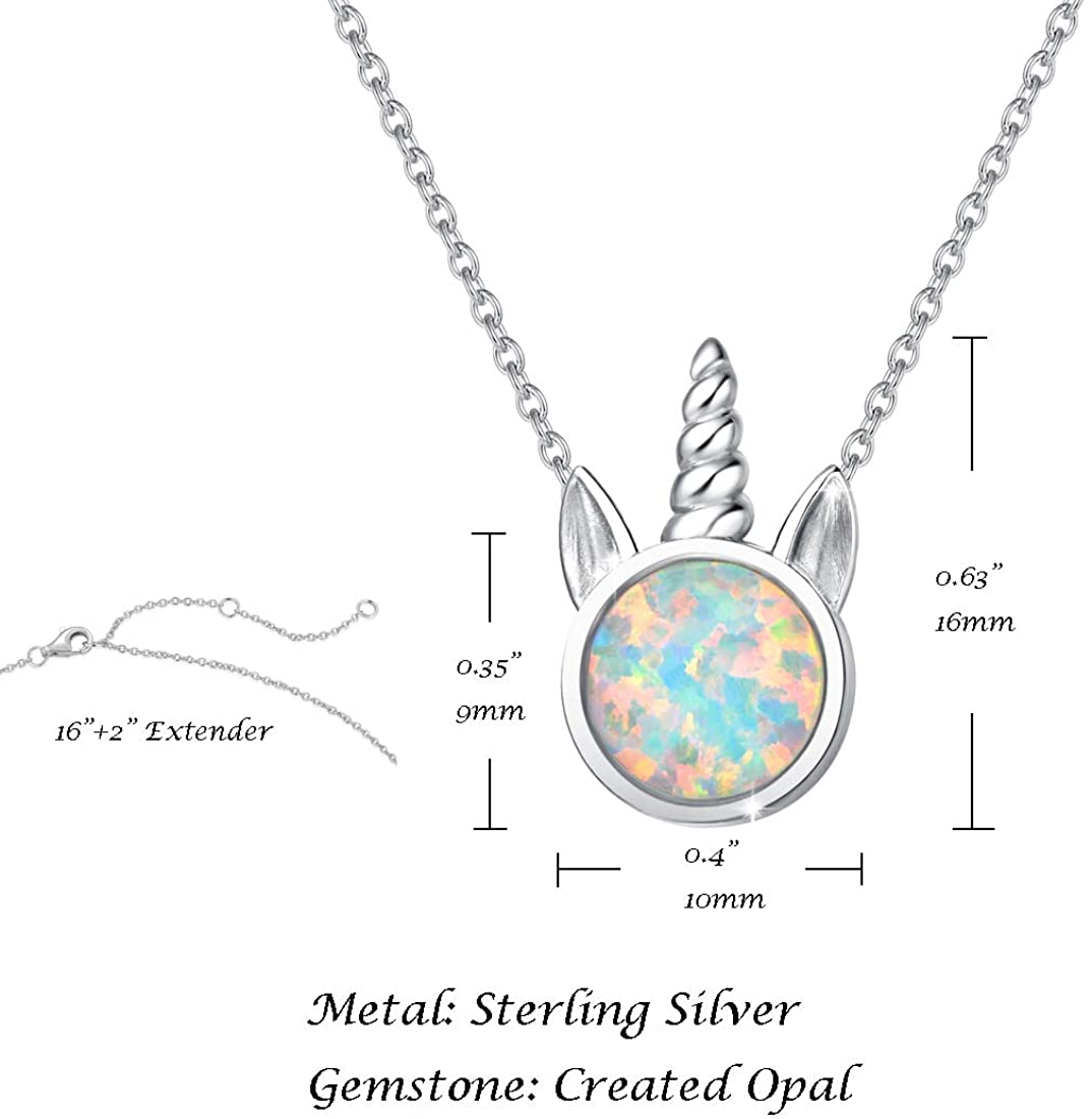 YFN Unicorn Gifts Created Opal Pendant Necklace 925 Sterling Silver Unicorn Jewelry for Women Girls