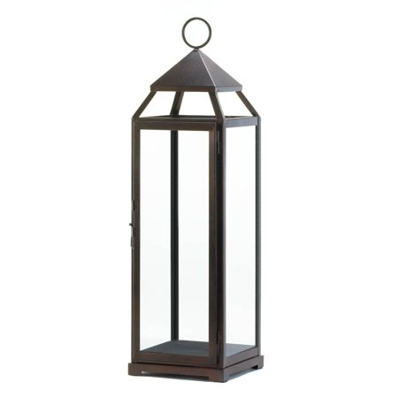 Candle Lantern Decor, Contemporary Tall Outdoor Metal Candle Lanterns - - Mission Bronze Outdoor Lantern