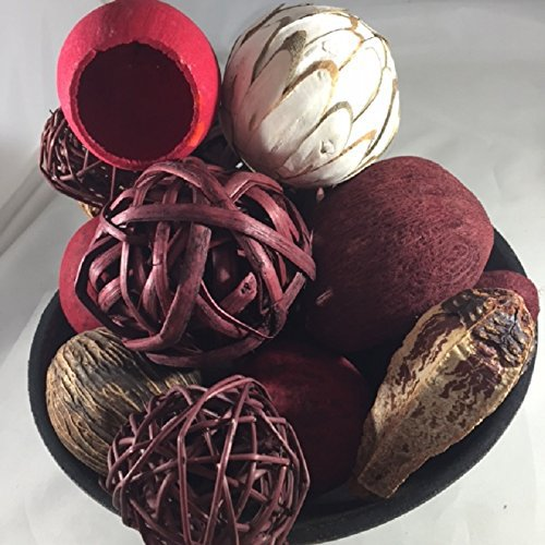 Decorative Spheres Cranberry and Maroon Rattan Balls And Botanical Pods Vase Filler Chunky Bowl Filler Wreaths For Door