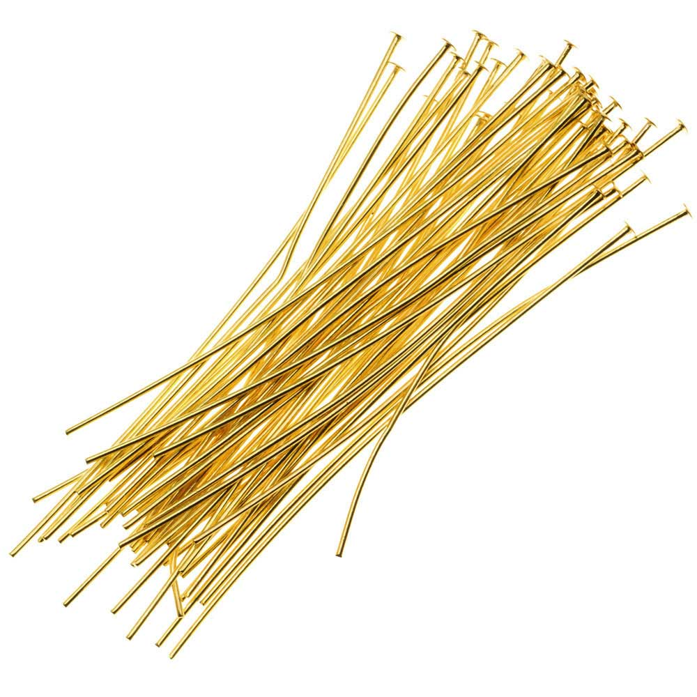 Head Pins, 3 Inches Long and 22 Gauge Thick, 25 Pieces, Gold Tone Brass