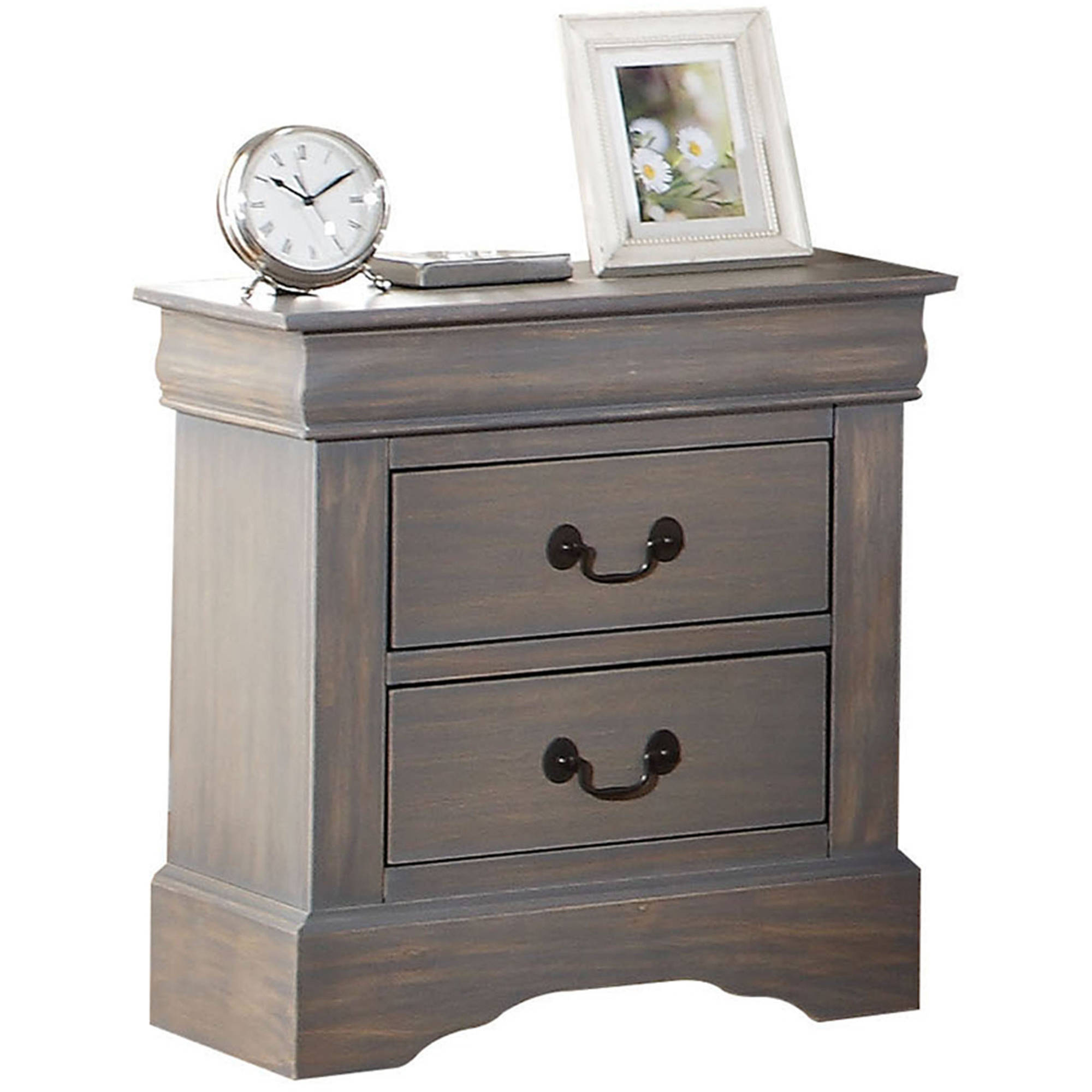 Acme Louis Philippe III Nightstand, Antique Grey by
