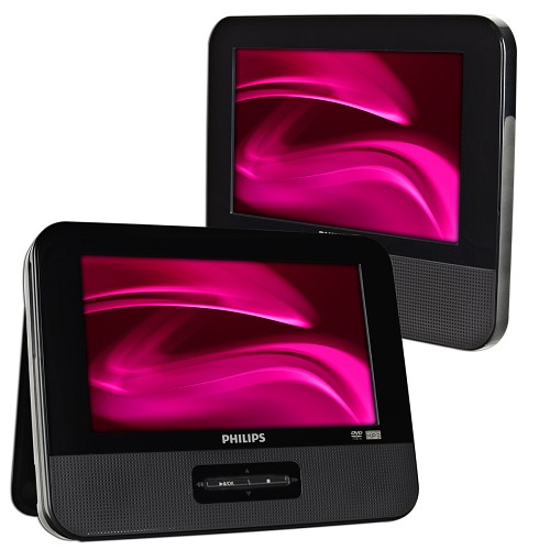 "Refurbished Philips PD9012/37 Dual 9"" Widescreen Portable DVD Player - Black"