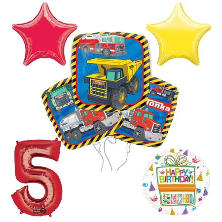 Tonka Truck 5th Birthday Party Supplies and Balloon Decoration Bouquet Kit - Tonka Truck Party Supplies