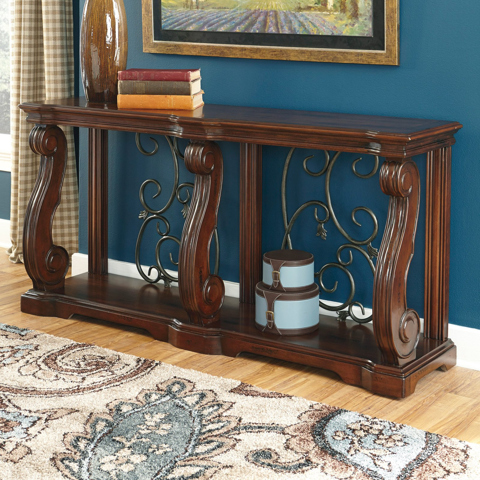 Signature Design By Ashley Alymere Rectangular Brown Sofa Table