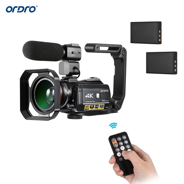ORDRO AC3 4K WiFi Digital Video Camera Camcorder DV Recorder 24MP 30X Zoom IR Night Vision 3.1 Inch IPS LCD Touchscreen with 2pcs Rechargeable Batteries + Extra 0.39X Wide Angle Lens + External Microp