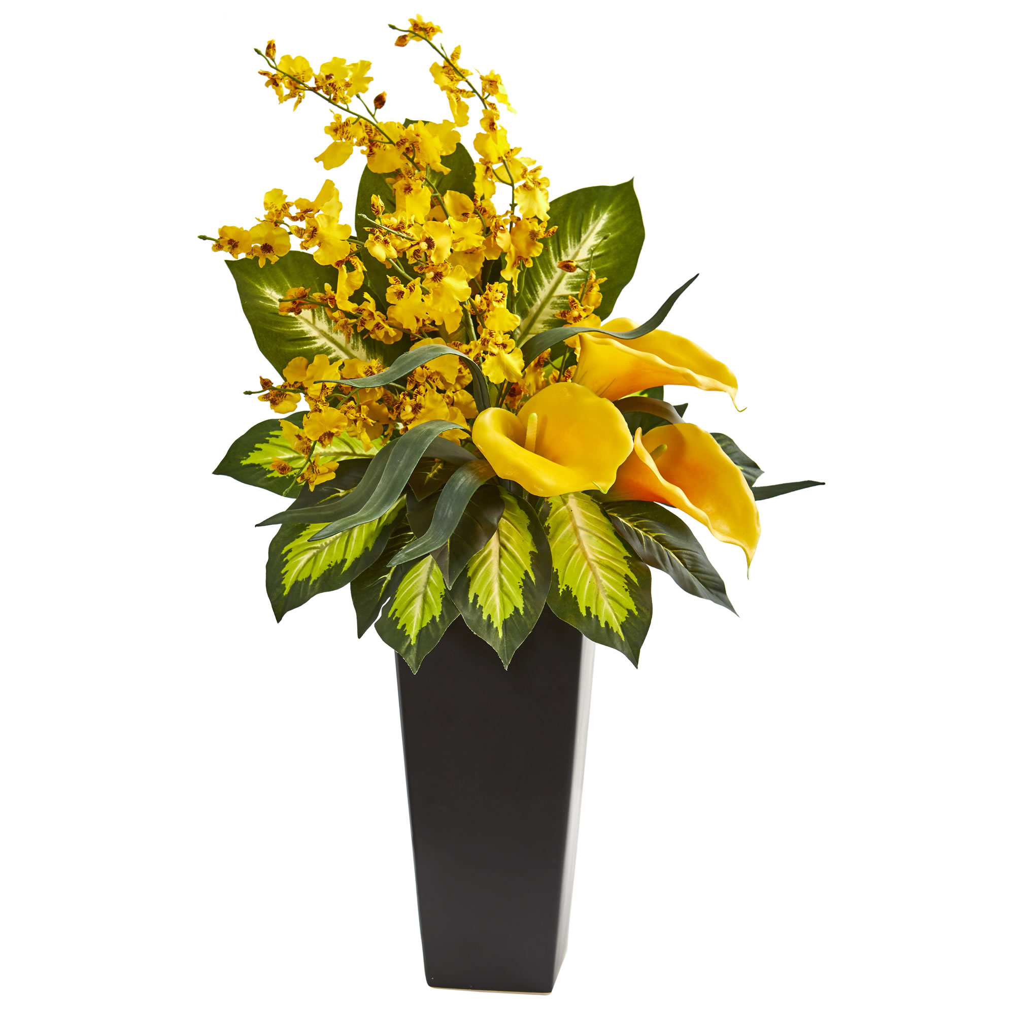 Nearly Natural 29-In. Calla Lily & Orchid Artificial Arrangement in White Vase