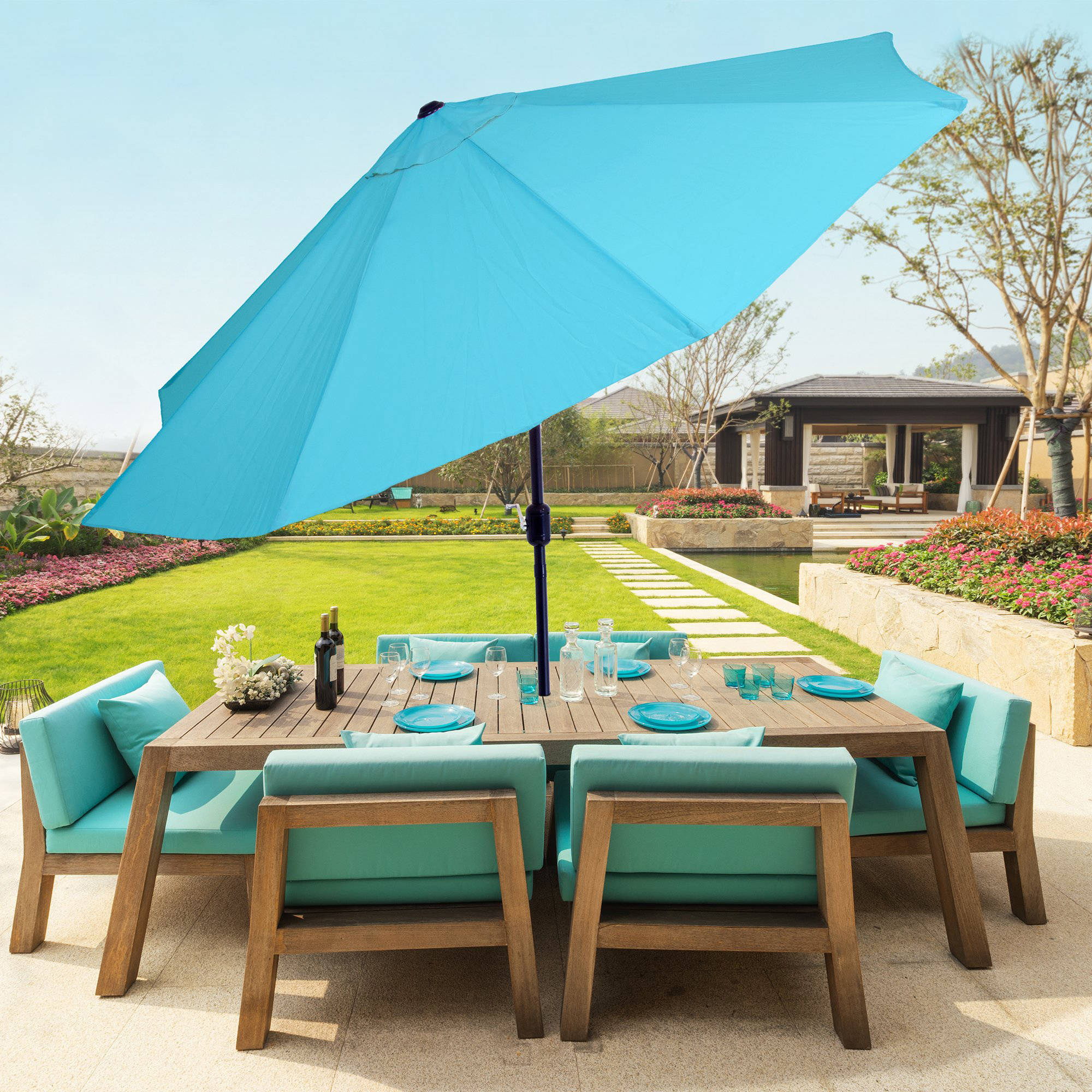 Pure Garden 10u0027 Aluminum Patio Umbrella With Auto Tilt