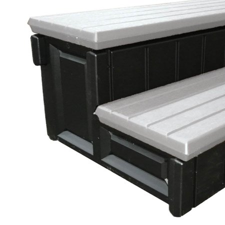 Image of Leisure Accents 36 Inch Long Deluxe Spa Hot Tub Steps, Gray and Black (6 Pack)