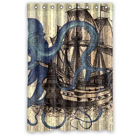 HelloDecor Attack Octopus Ship Shower Curtain Polyester Fabric Bathroom Decorative Size 48x72 Inches