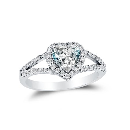 Solid 14k White Gold Heart Cut Halo Wedding Engagement Ring with Side Stones, CZ Cubic Zirconia (1.75 ct.) , Size (Engagement Rings With Black Diamond Side Stones)