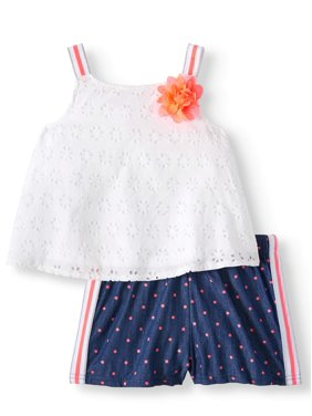 143dc076d Product Image Forever Me Eyelet Top and Polka Dot Shorts, 2pc Outfit Set  (Toddler Girls)