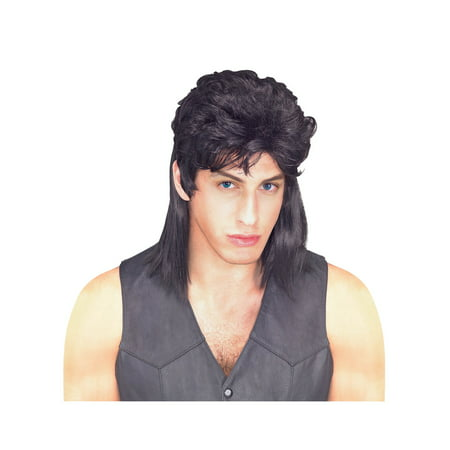Mullet Wig - Black - Adult Costume - Billy Mullet Wig