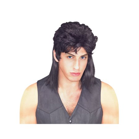 Mullet Wig - Black - Adult Costume Accessory