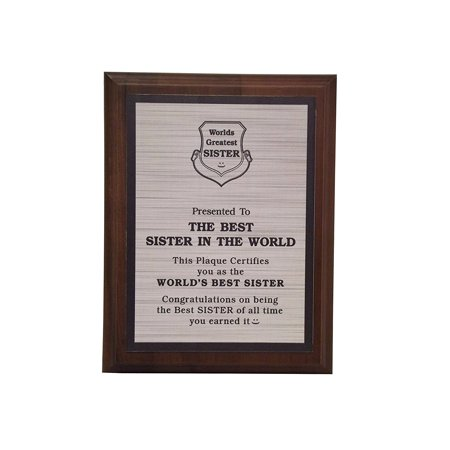 Aahs Engraving Worlds Greatest Plaques (Best Sister In The World, Silver)