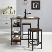 Mainstays 3-Piece Metal Pub Set With Wood Top, Dark Mahogany by Dorel Asia