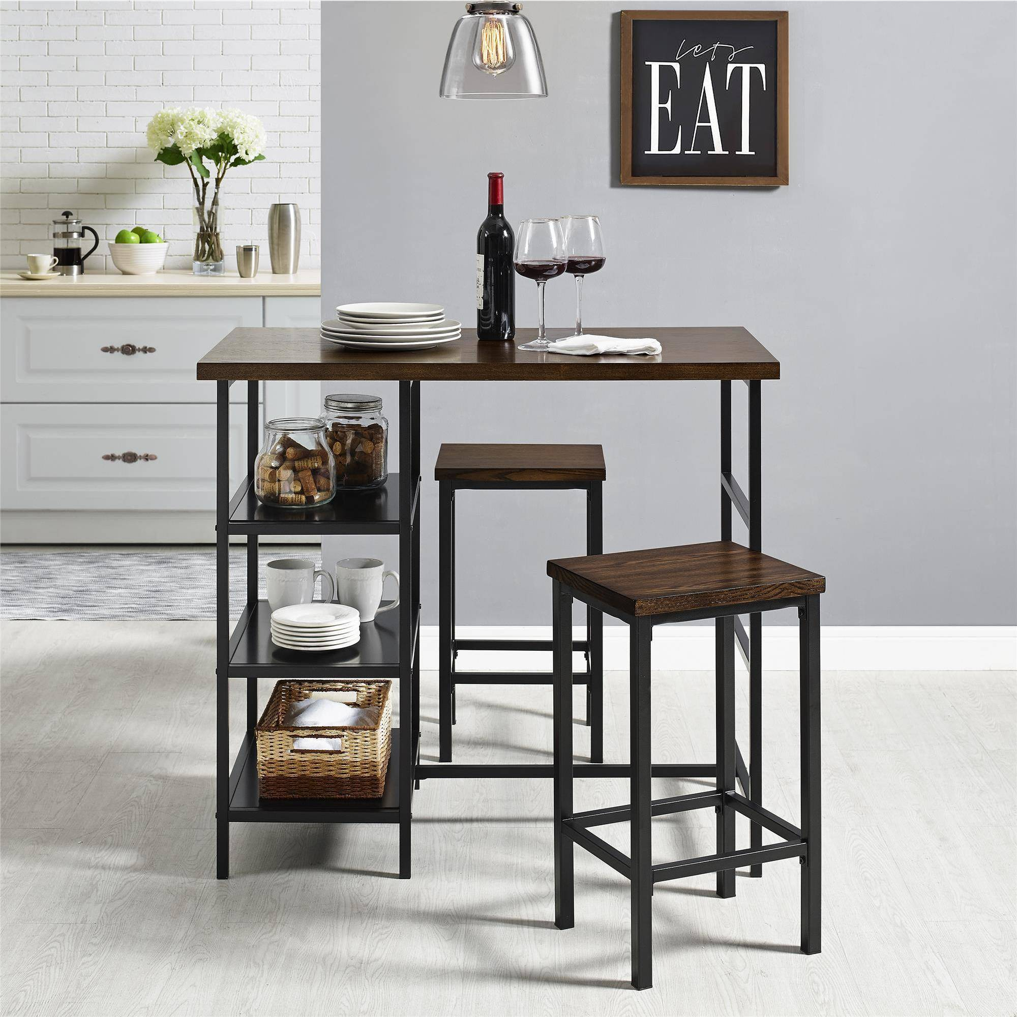 Mainstays 3-Piece Metal Pub Set With Wood Top, Dark Mahogany