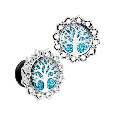 Body Candy 0 Gauge 2Pc Steel Blue Glitter Inlay Tree of Life Single Flare Ear Plug Gauges Set of 2 8mm