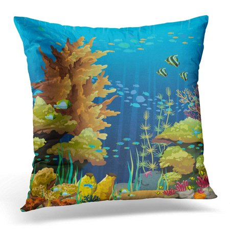 CMFUN Blue Sea Nature Seascape with Underwater Creatures and Coral Reef Colorful Fish Pillow Case Pillow Cover 20x20 inch - Colorful Sea Creatures
