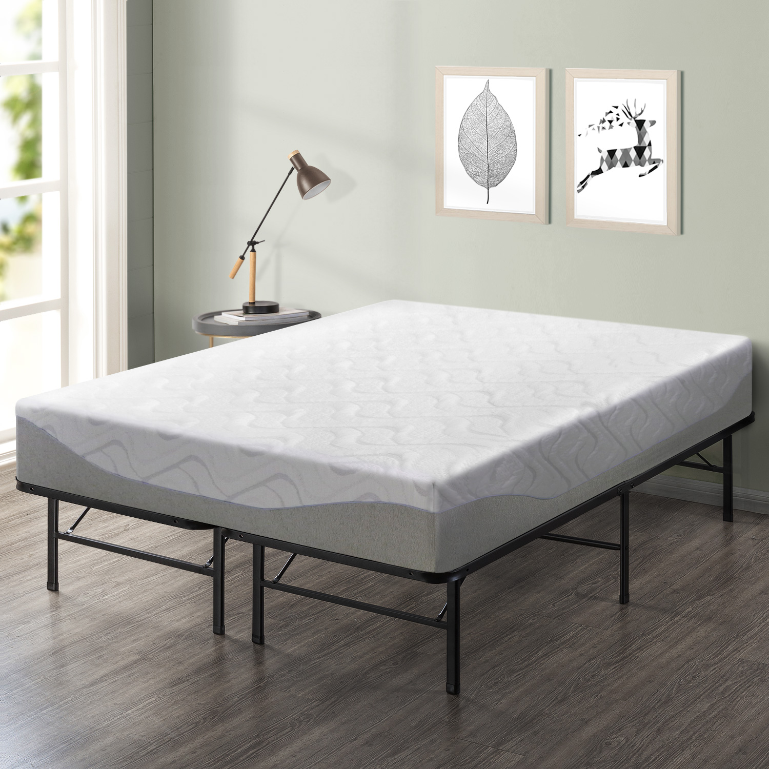 Best Price Mattress 11 Inch Gel-Infused Memory Foam Mattress and 14 Inch Steel Platform Bed Frame Set - Twin