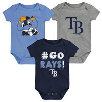 Tampa Bay Rays Infant Born To Win 3-Pack Bodysuit Set - Navy/Light Blue/Gray