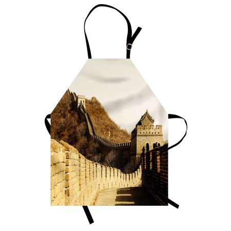 Great Wall Of China Apron Ancient Stone Borders On Mountains Famous Historical Monument Gothic Art  Unisex Kitchen Bib Apron With Adjustable Neck For Cooking Baking Gardening  Sepia  By Ambesonne