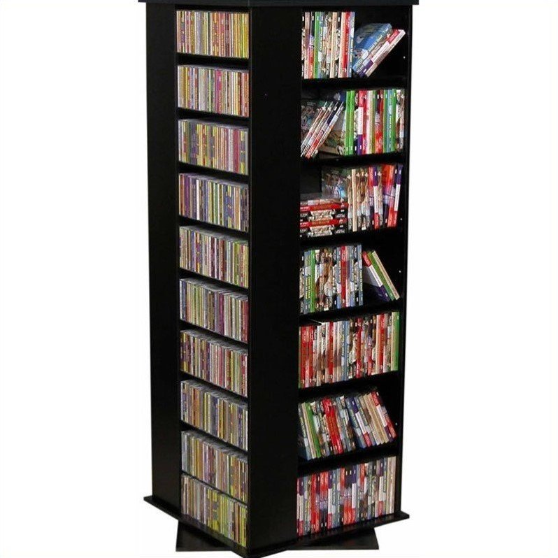 4 Sided Revolving Media Tower Grande in Cherry Finish