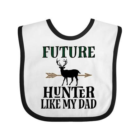 Hunting Future Hunter Like Dad Baby Bib White/Black One
