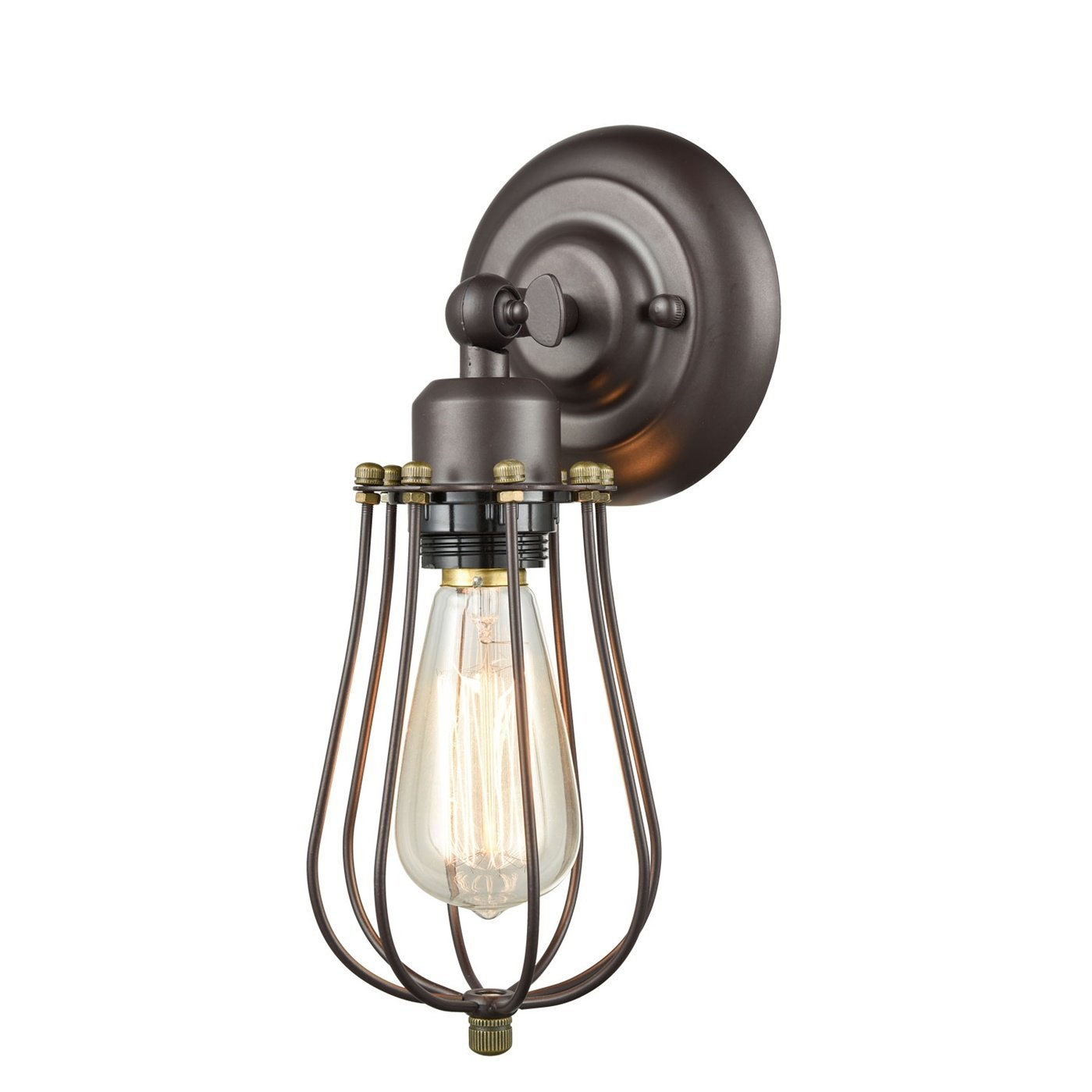 Industrial Edison Mini Wire Cage Oil Rubbed Bronze 1-light Wall Sconce by