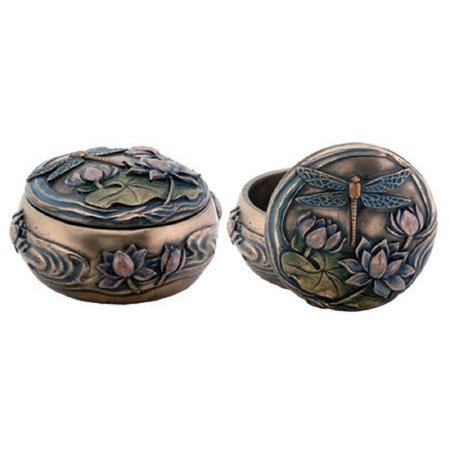 Art Nouveau Dragonfly Over Lily Pond Jewelry Trinket Box Container Decoration Dragonfly Jewelry Trinket Box