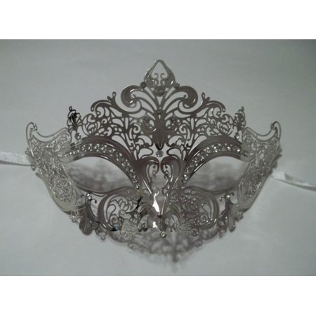 Silver Crystal Crown Laser Cut Venetian Mask Masquerade Metal Filigree](Dark Knight Clown Mask)