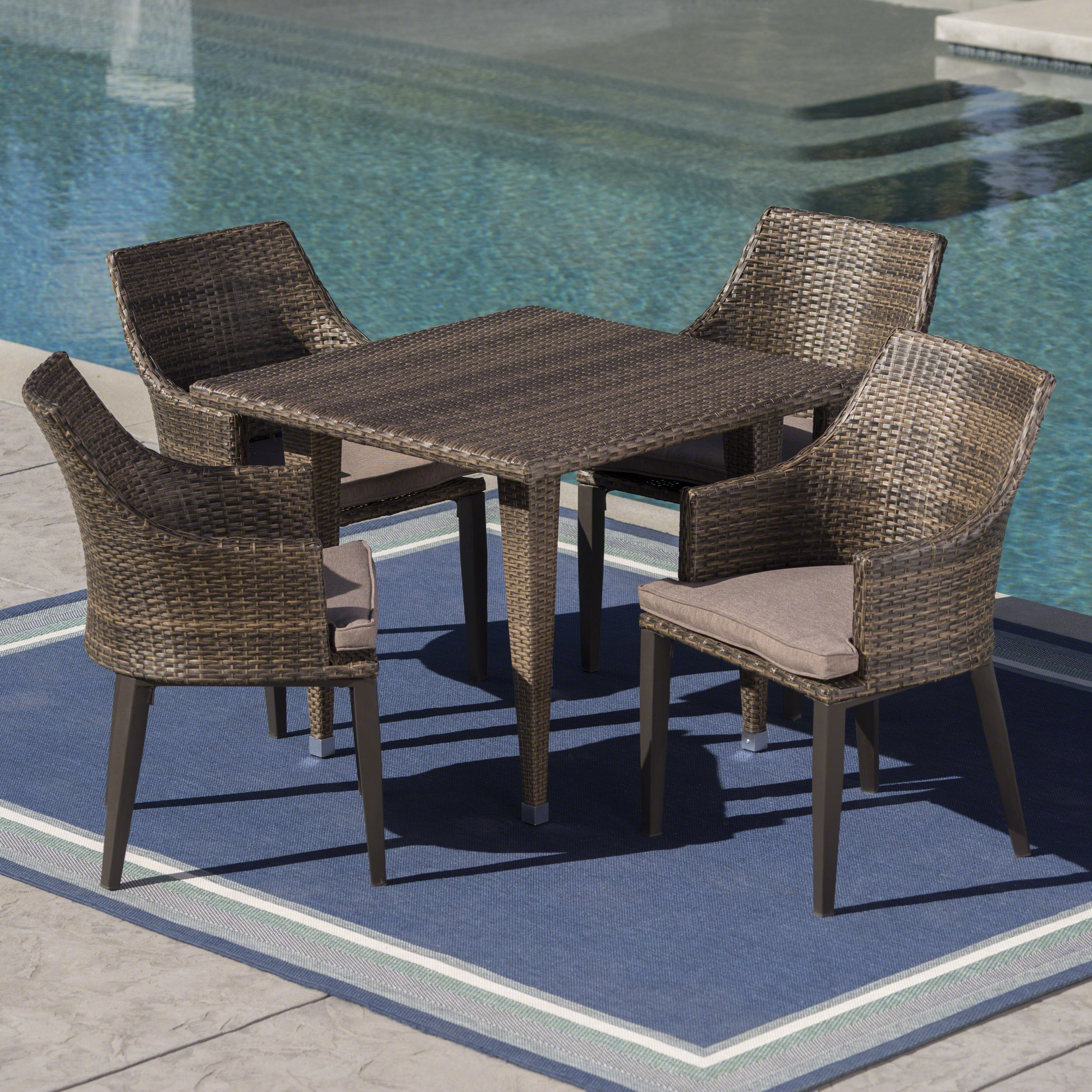 Pacific Outdoor 5 Piece Wicker Square Dining Set with Water Resistant Cushions, Mocha