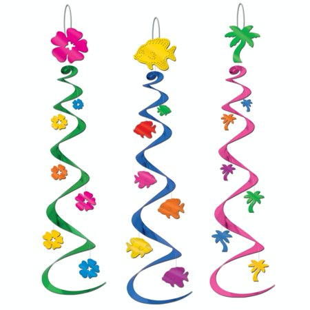 Club Pack of 18 Tropical Hawaiian Luau Flowers & Fish Dizzy Dangler Party Decorations 30