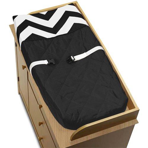 Zig Zag Black and White Chevron Baby Changing Pad Cover b...