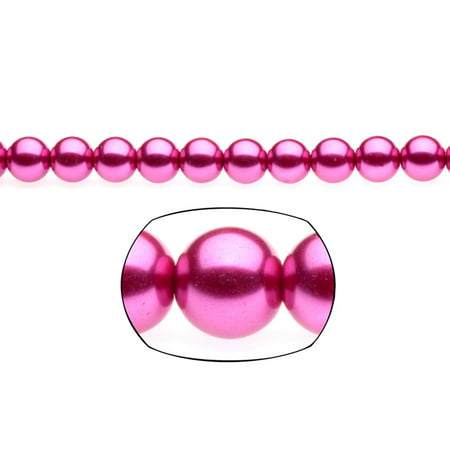 329 Glasses - 10mm Round Metallic-Tone Magenta Glass Pearls 2x16Inch Strings/pack (3-pack Value Bundle), SAVE $2
