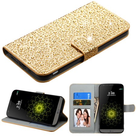 Diamante Leather Wallet Case for LG G5 - Gold