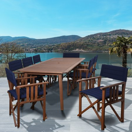 Amazonia  Orlando Natural Wood With Blue Sling 9-piece Rectangular Patio Dining Set ()