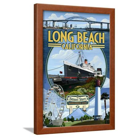 Long Beach, California - Montage Framed Print Wall Art By Lantern Press ()