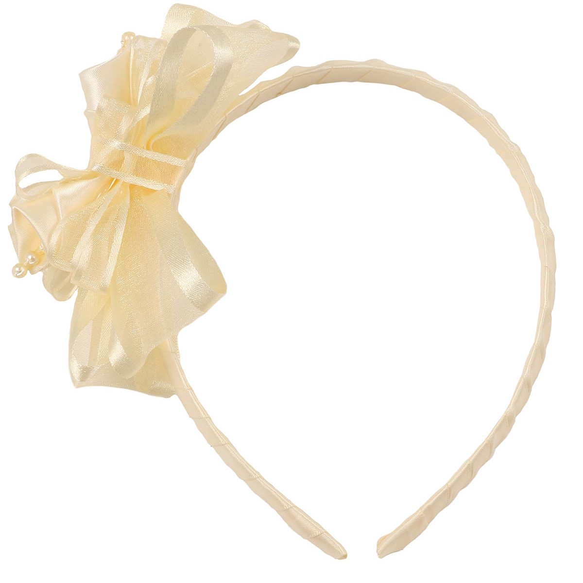 Girls Ivory Elegant Satin Organza Ribbon Floral Elegant Headband