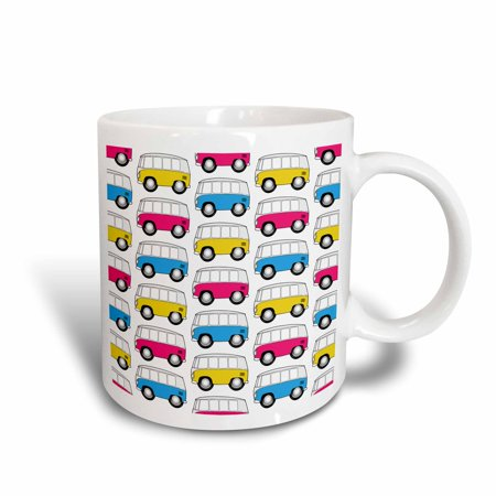 3dRose goofy toon micro-bus patterns on a white background, mixed colors, Ceramic Mug, 11-ounce