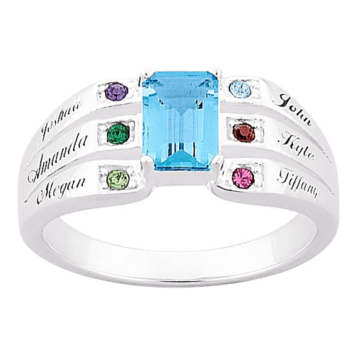 Personalized Mother's Birthstone Ring in Sterling Silver