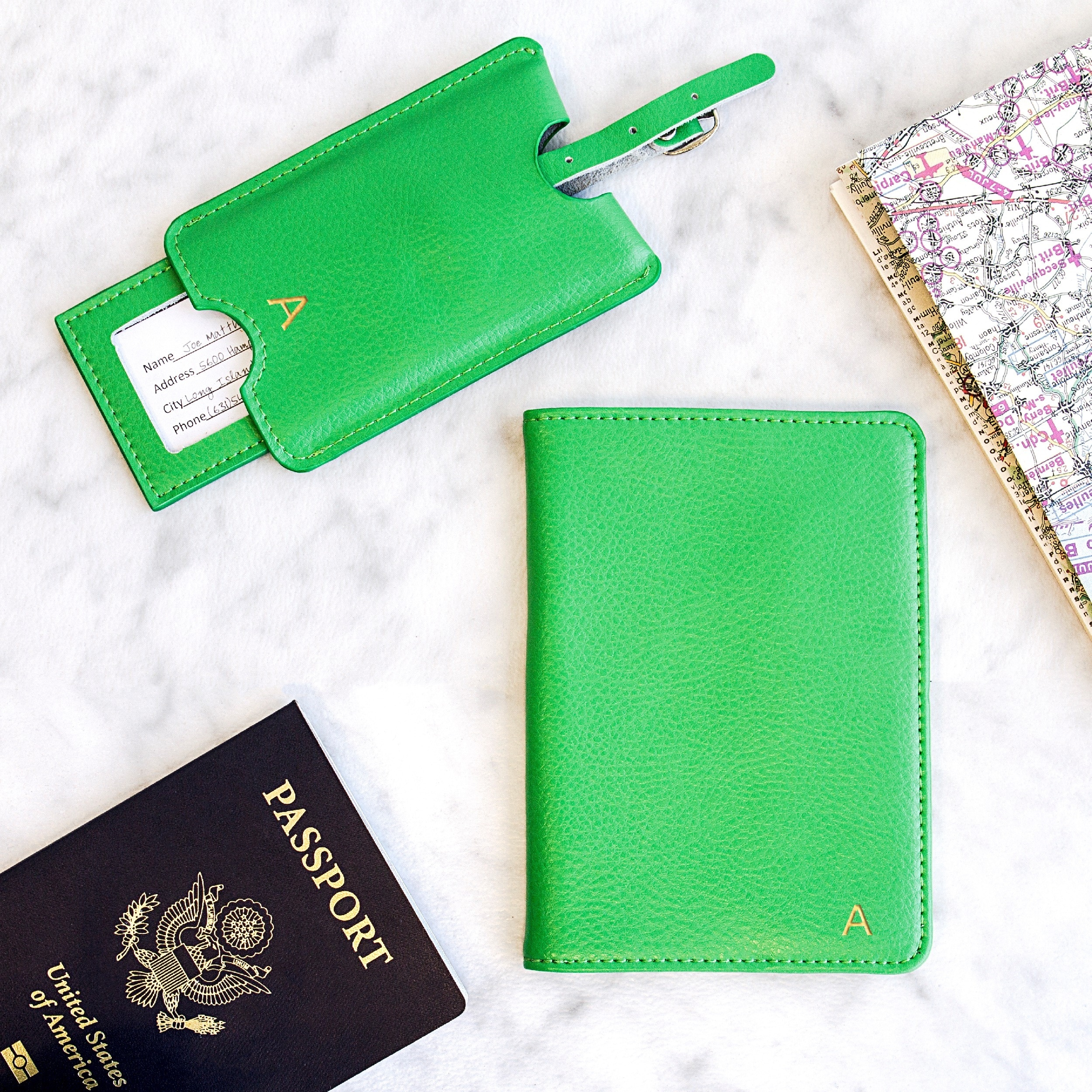 Dinosaur Print /& Dots Genuine Leather Passport Cover Personalized