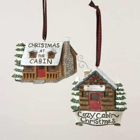 club pack of 12 log cabin christmas ornaments 4