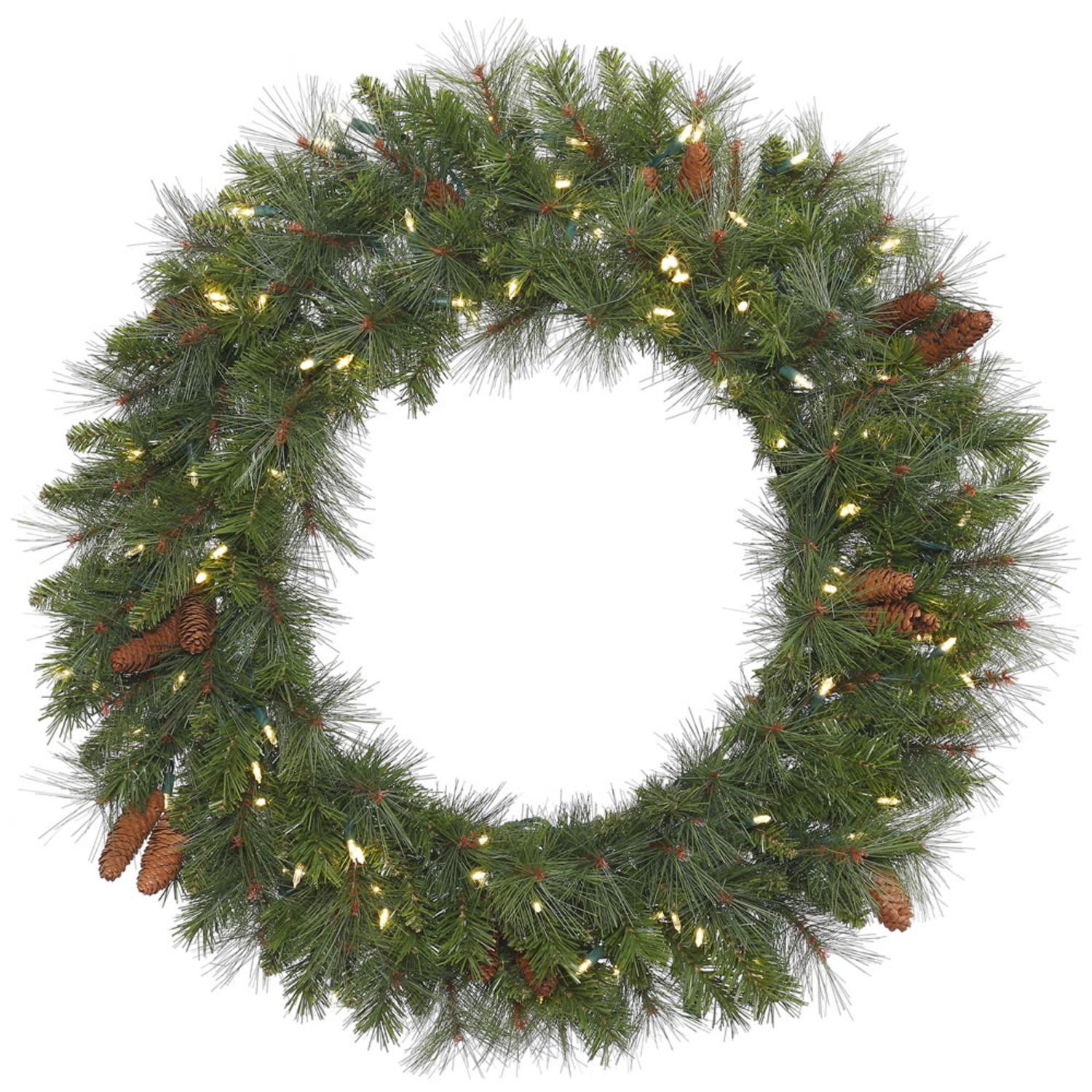 "36"" Pre-Lit Savannah Mixed Artificial Christmas Wreath - Warm White LED Lights"