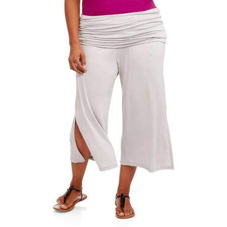 9d236e7dafa 24 7 Comfort Apparel - Women s Elastic-Waist Plus Size Stretch Capri Pants  - Walmart.com