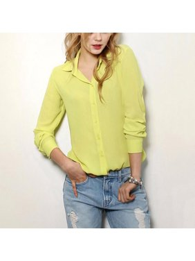 818dd2c11f4 Product Image MarinaVida Women Button Down Chiffon Lapel Shirt V-Neck OL  Work Tops Blouse