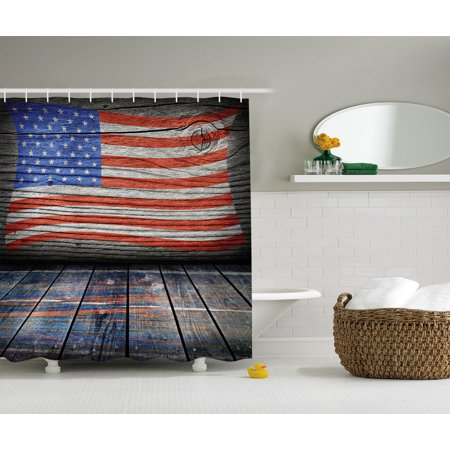 - Rustic Decor American Usa Flag Shower Curtain Set, Fourth Of July Independence Day Wooden Looking Floor Log View Wall Rippled Image, Bathroom Accessories, 69W X 70L Inches, By Ambesonne
