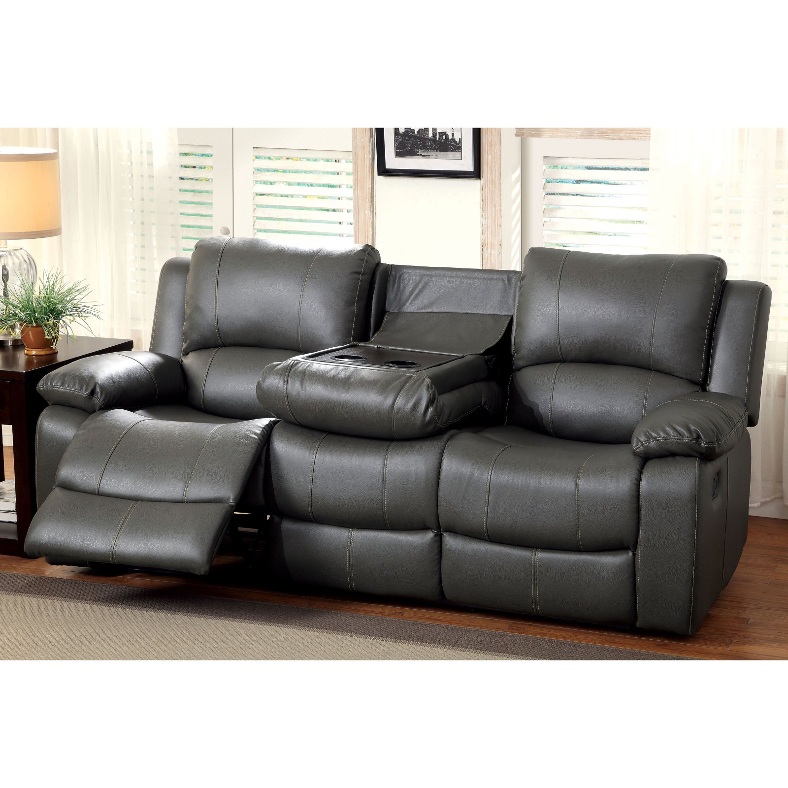 Furniture of America Rathbone Recliner Sofa with Cup Holders
