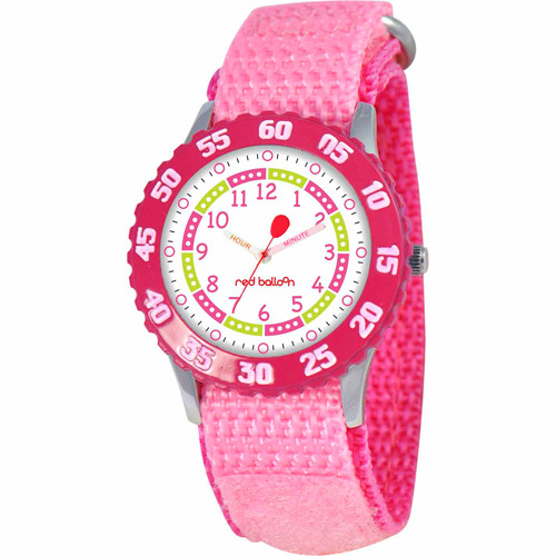 Red Balloon Girls' Stainless Steel Watch, Pink Strap