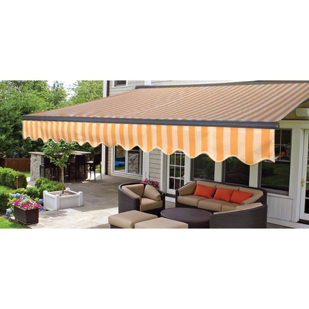 ALEKO 16'x10' Sunshade Half Cassette Motorized Retractable Patio Deck Awning, Multi Striped Yellow Color